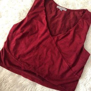 🌈5/$25🌈 red velvet v neck crop top